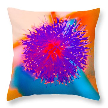 Neon Pink Puff Explosion Throw Pillow by Samantha Thome