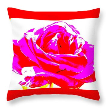 Neon Rose Throw Pillow