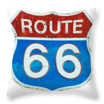 Neon Route 66 Sign Throw Pillow by MaryJane Armstrong