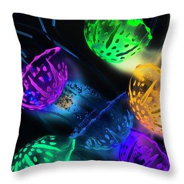Neon Sea Life Throw Pillow