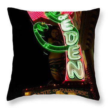 Throw Pillow featuring the photograph Neon Sign At Night In North Beach San Francisco 1 by Jason Rosette