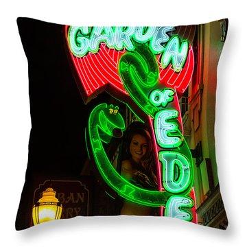 Neon Sign Garden Of Eden Throw Pillow