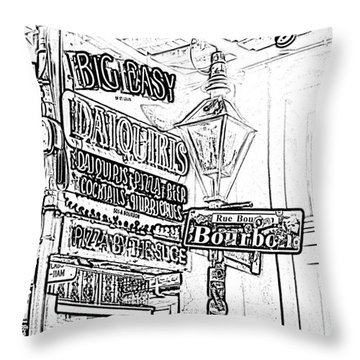 Neon Sign On Bourbon Street Corner French Quarter New Orleans Black And White Photocopy Digital Art Throw Pillow by Shawn O'Brien