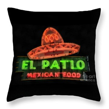 Throw Pillow featuring the painting Neon Sign Series Mexican Food Austin Texas by Edward Fielding