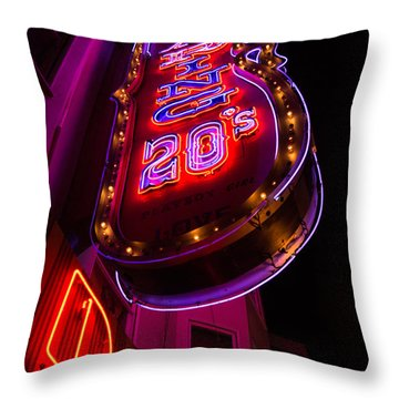 Throw Pillow featuring the photograph Neon Signs At Night In North Beach Low Angle Ve by Jason Rosette
