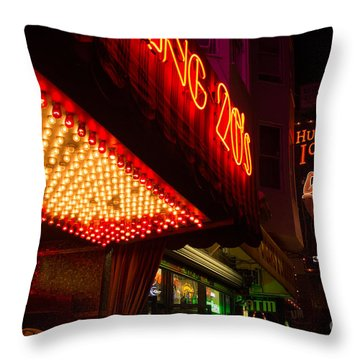 Throw Pillow featuring the photograph Neon Signs At Night In North Beach San Francisco With Light Bulb Awning by Jason Rosette