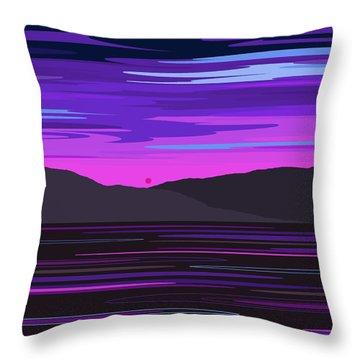 Neon Sunset Reflections Throw Pillow
