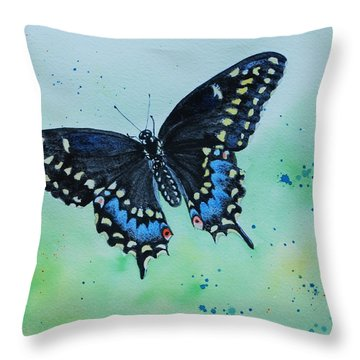 Neon Swallowtail Throw Pillow