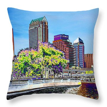 Neon Tampa Throw Pillow by Carol Groenen