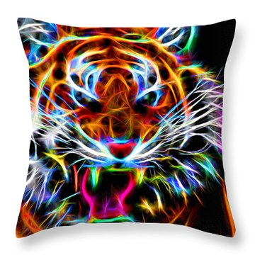 Neon Tiger Throw Pillow by Andreas Thust