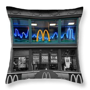 Neon Twin Towers Throw Pillow by Andrew Fare