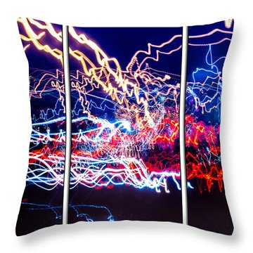Neon Ufa Triptych Number 1 Throw Pillow