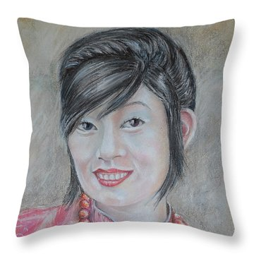 Nepal Girl 1 Throw Pillow
