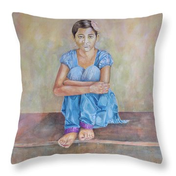 Nepal Girl 4 Throw Pillow by Marty Garland