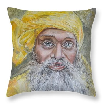 Nepal Man 6 Throw Pillow by Marty Garland
