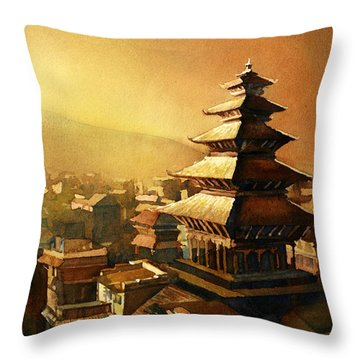 Nepal Temple Throw Pillow