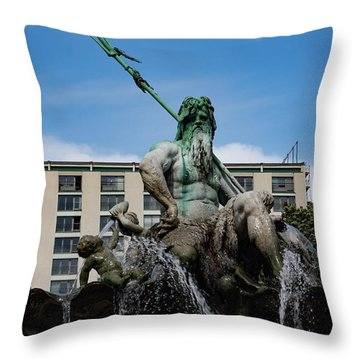 Neptune Statue Throw Pillow