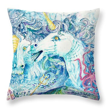 Neptune's Horses Throw Pillow by Melinda Dare Benfield
