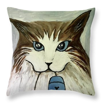 Nerd Cat Throw Pillow by Victoria Lakes