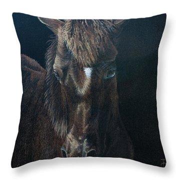 Nervous Colt  Milltown Fair Throw Pillow by Pauline Sharp