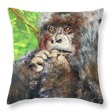 Nervous Mama Gorilla Throw Pillow