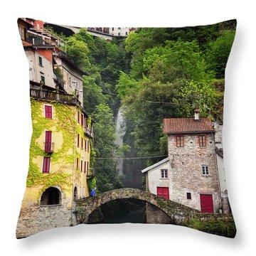 Nesso On Lake Como Italy Throw Pillow