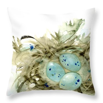 Nest And 3 Eggs Throw Pillow