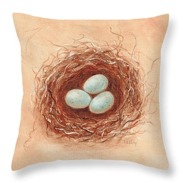 Nest In Umber Throw Pillow by Pam Talley