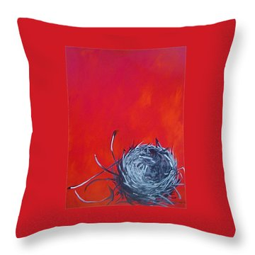 Nest On Red Throw Pillow