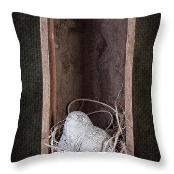 Nesting Bird Still Life Throw Pillow