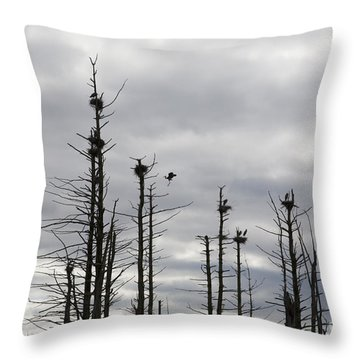 Nesting Blue Herons Throw Pillow by Erin Paul Donovan