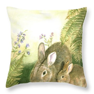 Nesting Bunnies Throw Pillow by Patricia Pushaw