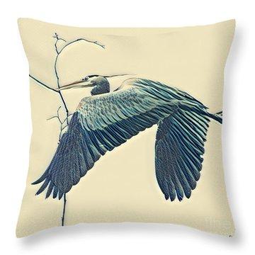 Nesting Heron Throw Pillow