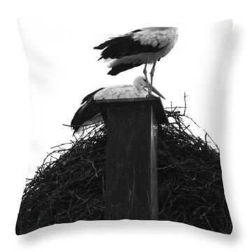 Nesting Storks Throw Pillow