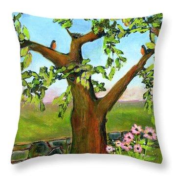 Nesting Tree Throw Pillow