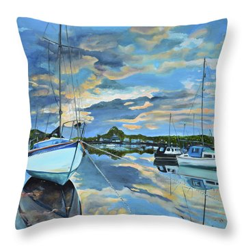 Throw Pillow featuring the painting Nestled In For The Night At Mylor Bridge - Cornwall Uk - Sailboat  by Jan Dappen