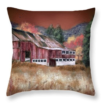 Throw Pillow featuring the digital art Nestled In The Laurel Highlands by Lois Bryan