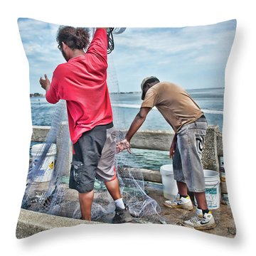 Net Fishing On Cortez Bridge  Throw Pillow