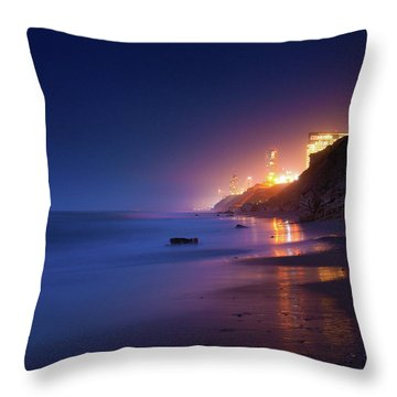 Netanya Beach At Night Throw Pillow