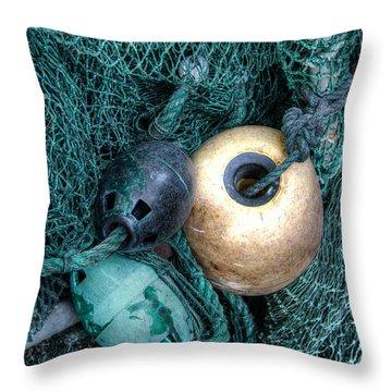 Nets And Buoys Throw Pillow by Lynn Jordan