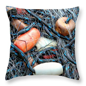 Nets With Orange And White Buoys Throw Pillow by Lynn Jordan