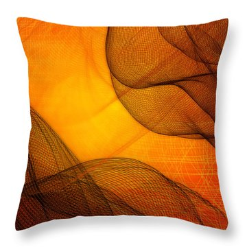 Netted Orange Throw Pillow by Constance Krejci