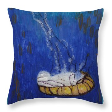 Nettle Jellyfish Throw Pillow by Phil Strang