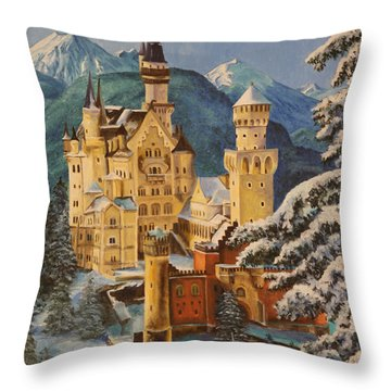Neuschwanstein Castle In Winter Throw Pillow