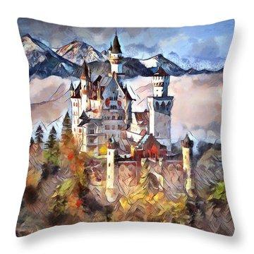 Throw Pillow featuring the digital art Neuschwanstein Castle by Pennie McCracken