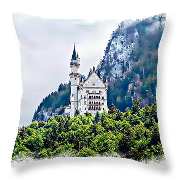 Neuschwanstein Castle With A Glider Throw Pillow