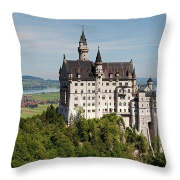 Neuschwanstein Castle With Village Throw Pillow