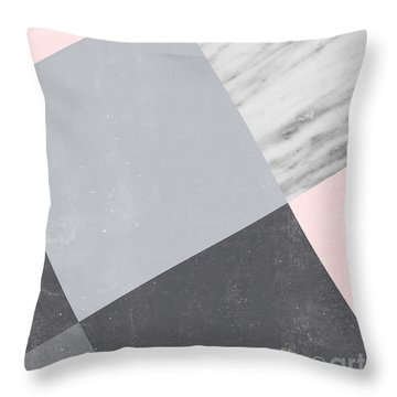 Neutral Collage With Marble Throw Pillow