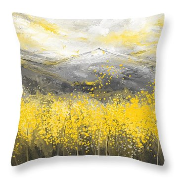 Neutral Sun - Yellow And Gray Art Throw Pillow