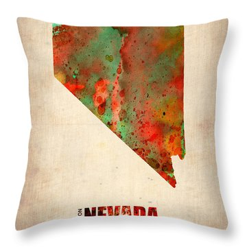 Nevada Watercolor Map Throw Pillow by Naxart Studio